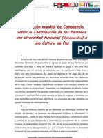 Declaración mundial de Compostela sobre la Contribución de las Personas con diversidad funcional (discapacidad) a una Cultura de Paz