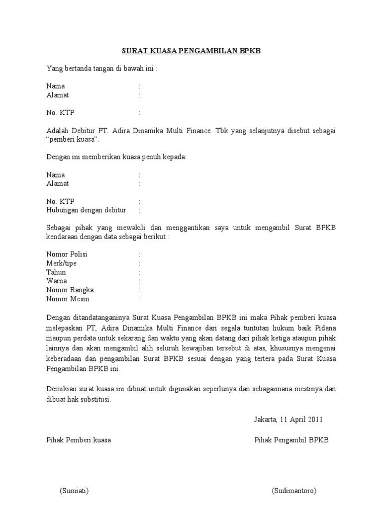 Contoh Surat Kuasa Pengambilan Bpkb Motor Di Dealer Bertemuco