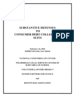 Substantive Defenses to Consumer Debt Collection Suits t
