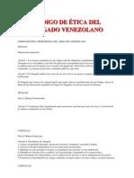 Codigo de Etica Del Abogado Venezolano