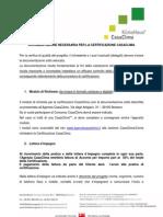 Documentazione Per Certificazione CasaClima