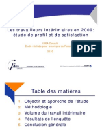 Profil des Interimaires en 2009 Rapport Complet