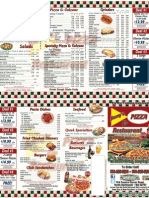 Jimmy's Pizza Menu