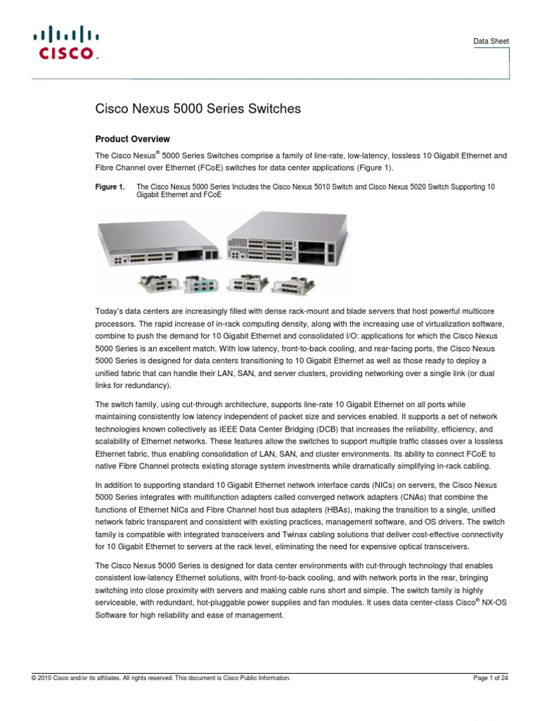 Cisco nexus 5548p, 5548up, 5596up, and 5596t switches data sheet.