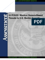 (U~~LES) HSA - Mexico Sonora-Based Threats to U.S. Border Security 08262010