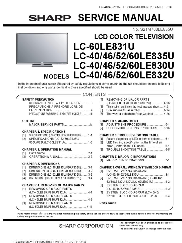 7124742 sharp lc 40le830u 46le830u 52le830u 60le830u service manual rh scribd com Sharp AQUOS Quattron 60 Inch Sharp AQUOS Quattron 60 Inch