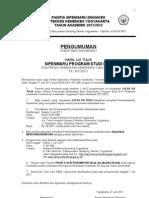 Pengumuman Sipenmaru D IV Uji tulis 27 Juni 2011