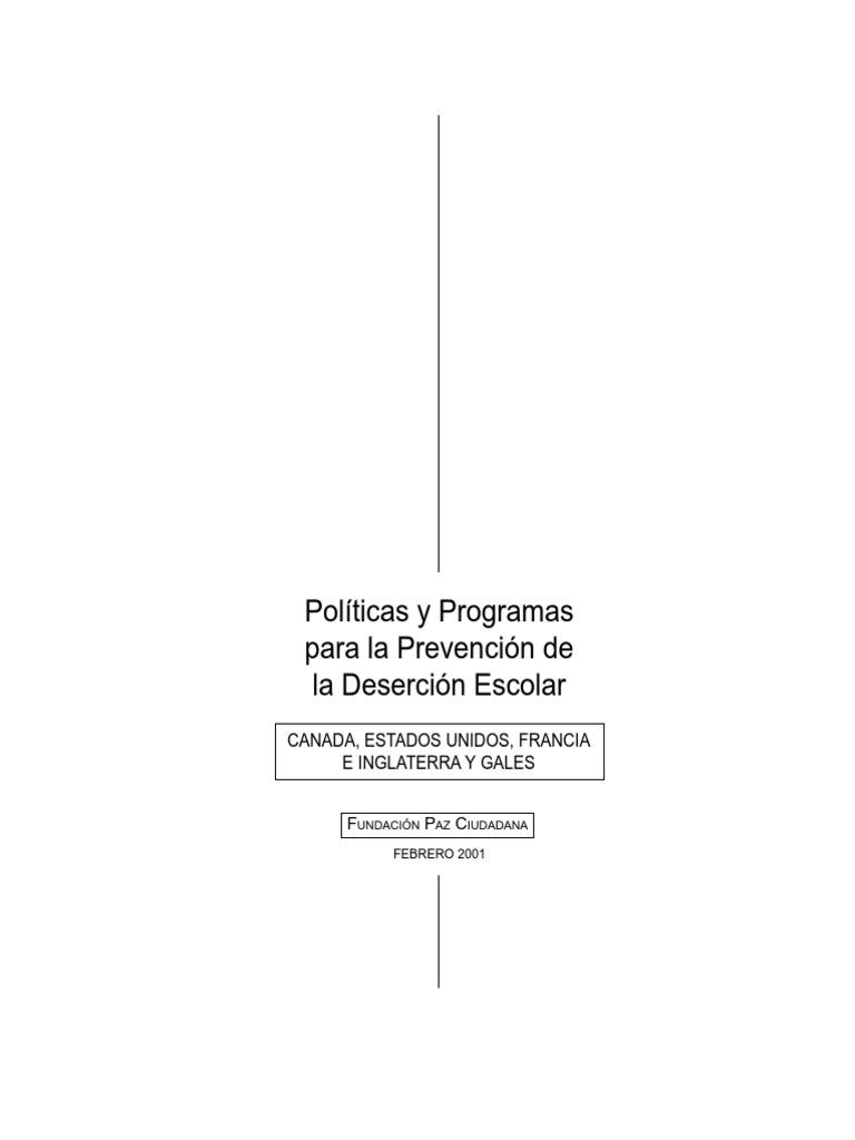 Politicas Programas Prevencion Desercion Escolar