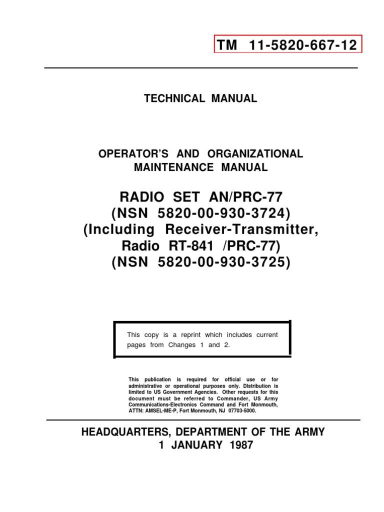 TM 11-5820-667-12  RADIO SET AN//PRC-77  OPERATOR AND MAINTENANCE MANUAL
