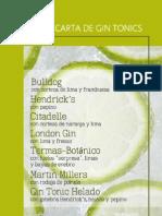 Balneario Termas Pallarés Carta de Gin Tonics Cocteles.