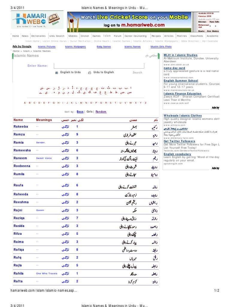 Islamic Names Meanings In Urdu