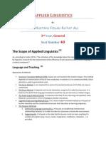 Applied Linguistics 1 the Scope of Applied Linguistics