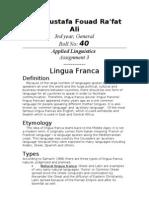 Applied Linguistics 3 Lingua Franca