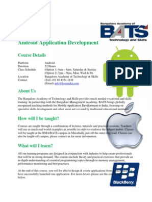 Android Application Development Course Syllabus | Android