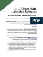 Proceso Admisión_Especialización en Educación Artística Integral 2012-01