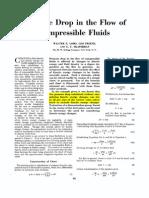 Pressure Drop in the Flow of Compressible Fluids
