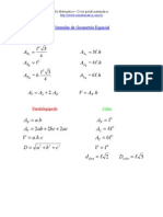 Fórmulas de Geometria Espacial