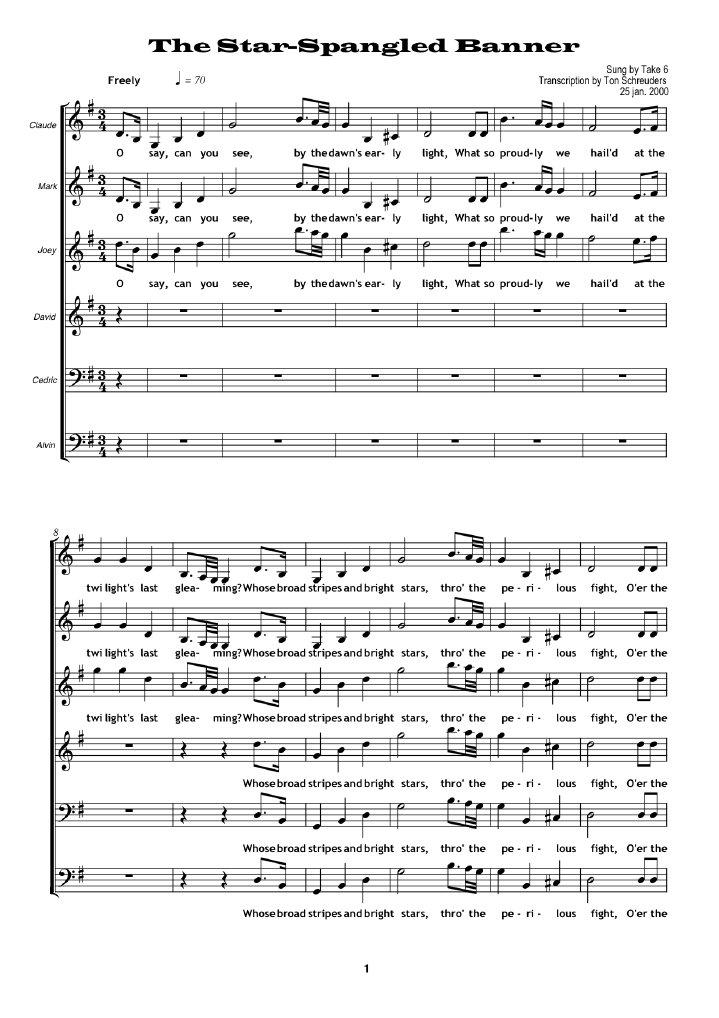 Take 6 national anthem sheet music