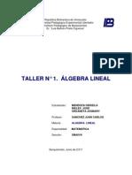 Taller de Algebra Lineal de JOSMARY URDANETA