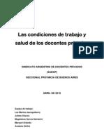 Condiciones de Trabajo y Salud de Los Docentes Privados