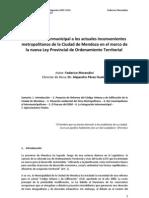 Respuesta Inter Municipal a Los Actuales Inconvenientes nos de La Ciudad de Mendoza en El Marco de La Nueva Ley Provincial de to Territorial (Final)