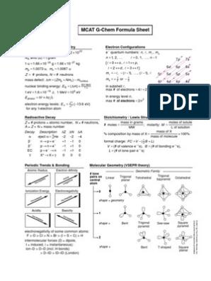 16- MCAT G-Chem Formula Sheet   Chemical Equilibrium   Acid