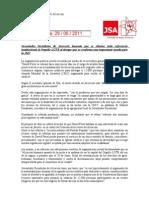 Nota de Prensa de JSA sobre la colaboración del ayuntamiento de Alcorcón con la Jornada Mundial de la Juventud y la desaparición del Orgullo LGTB