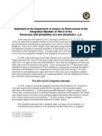 Statement of the Department of Justice on Enforcement of the Integration Mandate of Title II of the Americans with Disabilities Act and Olmstead v. L.C.