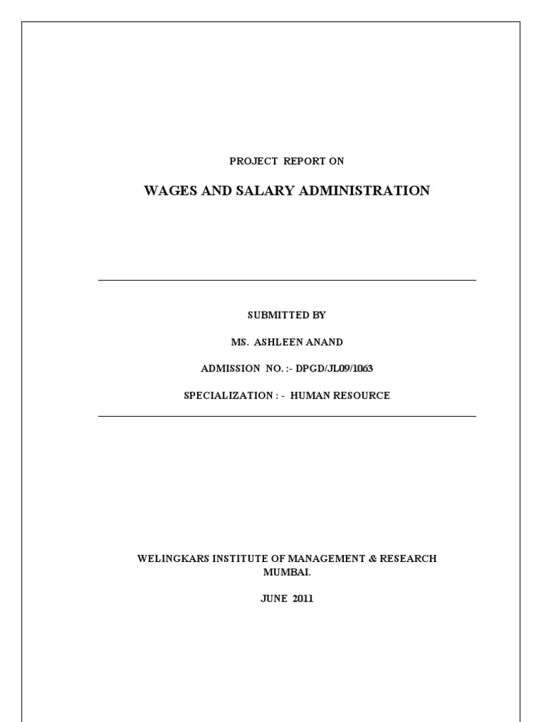 ashu project salary and wages administration