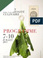 Programme Haute Cuisine Paris 2011