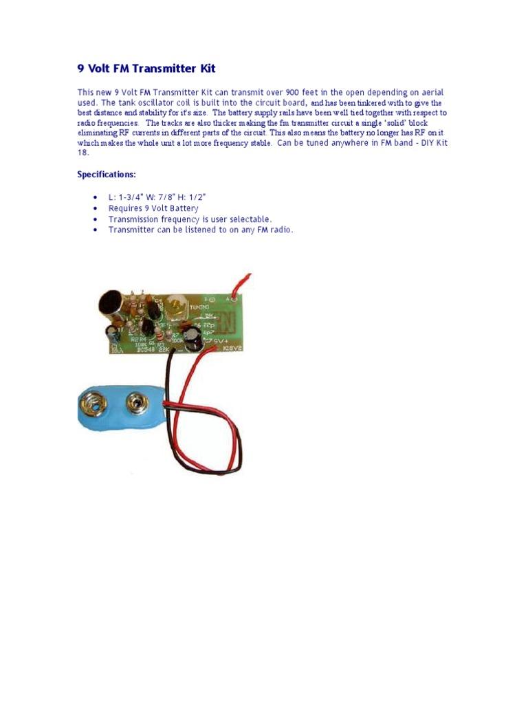 9 Volt Fm Transmitter Kit Radio Broadcasting Stable Circuit Diagram