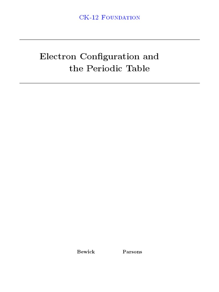 Electron Configuration And The Periodic Table Periodic Table