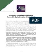 Renewable Energy Barriers and UK Renewable Obligations Certificat ROC