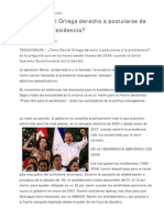 110628 ¿Tiene Daniel Ortega Derecho a Postularse de Nuevo a presidencia?