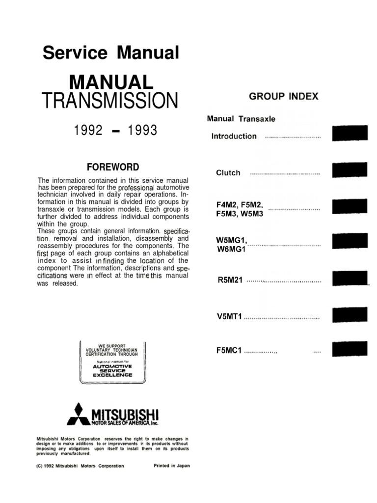 Service Manual Transmission FWD Mitsubishi Manual   Clutch   Four Wheel  Drive