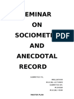 Sociometry Anecdotal Record