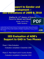 ADB's Support to Gender and Development - IED Evaluations of 2009 & 2010