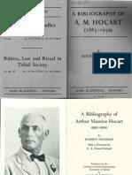 A Bibliography of Arthur Maurice Hocart - Rodney Needham