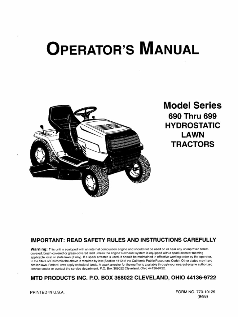 ranch king lawn tractor owner s manual carburetor throttle