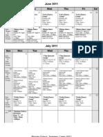 2011 Xtreme Summer Camp Schedule