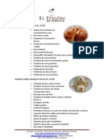 Lista de Pasapalos y Refrigerios