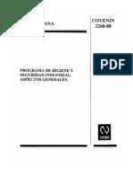 Norma Covenin 2260-88. Programa de Higiene y Seguridad Industrial