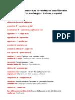 Verbos Con Diferente Preposicion en Italiano y Espanol