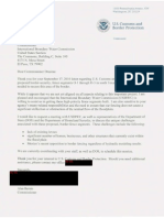 October 2010 letter from CBP Bersin to IBWC Drusina regarding Texas border wall
