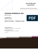 Orvana Minerals Report Stonecap Securities
