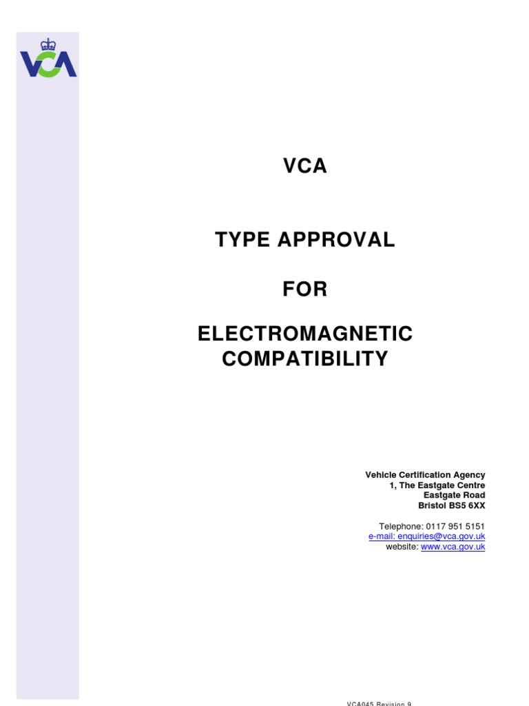 Vca045 Electromagnetic Compatibility Iso 9000 Production And