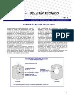 Boletin Nº1-POTENCIA RELATIVA DE UN EXPLOSIVO