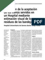 Evaluación de la aceptación de los menues en hospitales