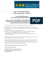 Notos Call for Papers - Fall 2011