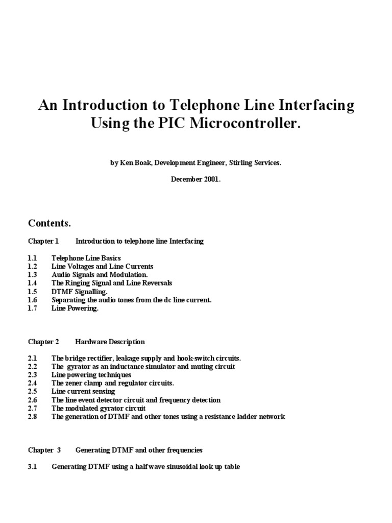 An Introduction To Telephone Line Interfacing Using The Pic Micro Power Supply Output Voltage Regulator By A Gyrator Circuit Controller Amplifier